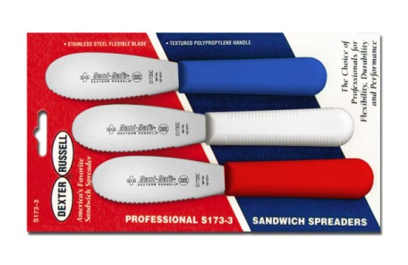 S173SC-3RWC Sani-Safe sandwich Spreaders 3-pk scall. spreaders in red, white & blue EACH