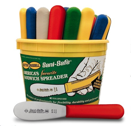 S173-48 Sani-Safe sandwich Spreaders Bucket of 48 colored handle spreaders EACH